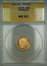 1900 Denmark 10K Kroner Gold Coin ANACS MS-63