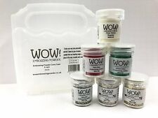 WOW! Embossing Powder & Glitter Holiday Christmas Colors 6 Pk Kit + Clear Case