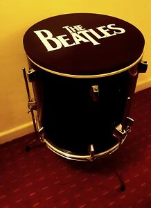 THE BEATLES Upcycled Floor Tom Drum Coffee/Side Table with storage inside<