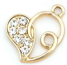 5 GOLD PLATED FILIGREE RHINESTONE HEART CHARMS 20mm Wine Glass Charm~Chain (50C)