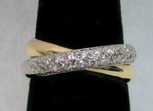 18K YELLOW WHITE & GOLD DIAMOND ROLLING RING BAND SIZE 7