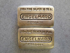 2 Engelhard older poured 10 oz. silver bars .999+ pure silver