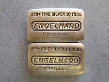 2 Engelhard older poured 10 oz. silver bars .999+ pure silver