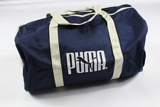 NOS Vintage 90s Puma Spell Out Handled Canvas Duffel Bag Gym Bag Carry On Blue