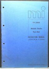 Marconi TF 2950 Mobile Radio test set Instruction Manual - Operators