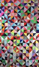 Vintage 1974 Vivid Colorful Quilt Top Polyester Triangles 1970s 92x80""