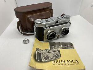 BELCA Kamera, Belplasca Stereokamera, 1954-62, Tasche, Anleitung (BEL0060)