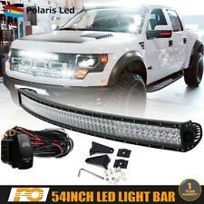 "54"" 312W Curved LED Light Bar Spot Flood Combo For Ford Dodge Chevy Roof Mount"
