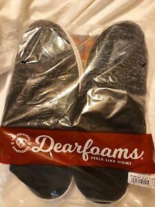 Men's Dearfoams Memory Foam Slippers Black,XL 13-14  Sealed Package