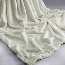 Cream Rabbit Faux Fur Throw Cozy Super Soft Plush Chic Blanket Soft Warm Rug Bed