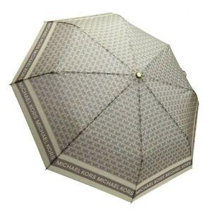 NWT Michael Kors Novelty Umbrella MK Signature Printed Poly Beige 35F9GNYN1B