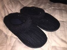 Dearfoam Clog Slippers Women's Indoor/Outdoor Knit Black Size Medium 7-8 NEW
