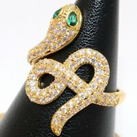 Sparkling Green Emerald Snake Ring Women Wedding Jewelry 14K Yellow Gold Plated