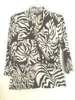 JONES NEW YORK Faux Wrap Blouse Top Shirt Brown Print Long Sleeve Womens Size PM