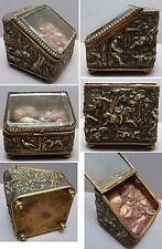Boite à bijoux porte montre à gousset 19e siècle Chasse à courre
