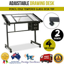 Adjustable Drawing Drafting Desk Table Art Craft Study Drawers Tilting Glass Top