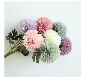 1 Branch Artificial Flower Ball Silk Dandelion Pompom Wedding Bouquet Home Decor