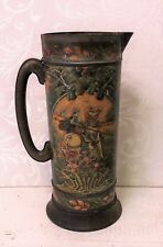 Large Art Nouveau Antique Tin Metal Pitcher Stein Medieval Knight Joust Vintage