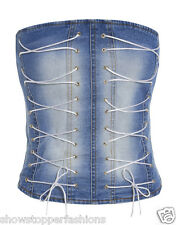 Sexy Denim Blue Corset Burlesque Basque Fancy Bustier Lace up Size 8 10 12 14