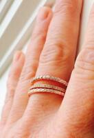 2.5 mm TCW Round CZ Rose Gold Stackable Eternity Bridal Band Ring 925 Size 8