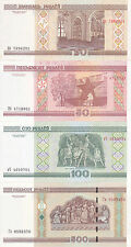 Europe/Belarus / 4 Uncirculated Notes / 20,50,100,500 Rubles / UNC / 2002