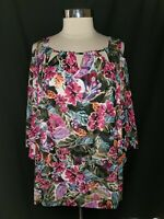 CATHERINES Plus Size 2X 22W 24W Petite Shirt Top White Pink Floral 3/4th Sleeve