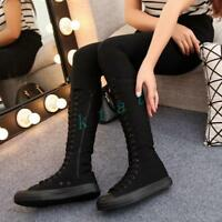 Women Flat Heel Student Sneakers Lace Up Casual Mid-calf Slim Boot Canvas Shoes
