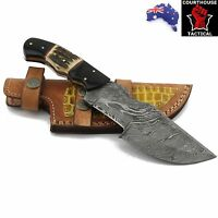 Handmade Hunter Tracker Knife, Damascus Blade, Buffalo Horn & Stag Horn Handle