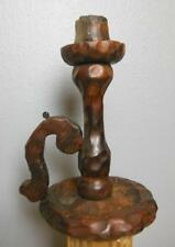 "Vintage  Primitive Candle Holder Wood 11"" Hand Carved Unsigned"