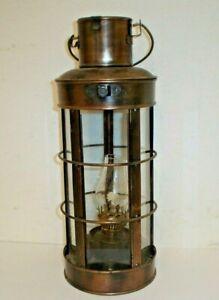 Vintage Nautical Kerosene Oil Lamp Lantern Made In Hong Kong