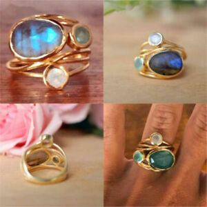 14K Gold Unique Moonstone Aqua Blue Shell Ring Wedding Jewelry Gifts Size 6-10