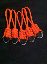 (5) Paracord Zipper Pulls- Fits Back Packs Gear Bags,Zombie Bug Out Bags-Orange