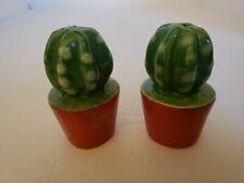 Vintage Salt and Pepper Shakers Cactus Desert Ceramic Painted Rare!