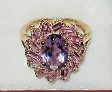 *WOW! SALE* 10K GOLD 6.33CTW SOLITAIRE AMETHYST & PINK TOPAZ RING 4.2 GRM SIZE 7