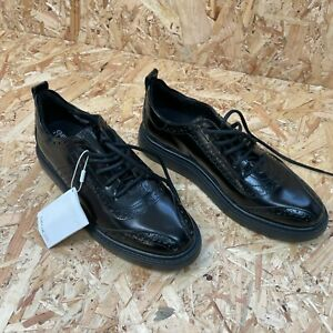 GEOX Respira Women's Black Leather Brogues Shoes Size UK 3