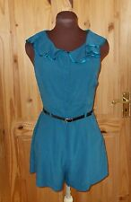 RIVER ISLAND kingfisher teal blue-green sleeveless frill playsuit shorts 8 34