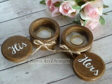 Wedding Ring Box Set. His Hers Wooden Ring Bearer. Bride and Groom Gift
