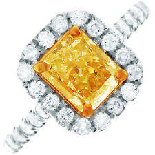 Fancy Yellow GIA Certified 2 CT Radiant & Round Cut Diamond Engagement Ring 14k