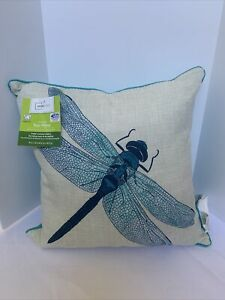 Mainstays Outdoor Pillows Ivory/Blue with Blue Fly 16X16 New