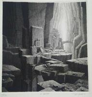Rare grande gravure Gérard TRIGNAC Le sanctuaire eau forte et burin 1991 signée