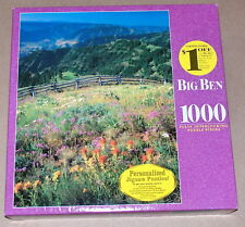 """1999 MB Big Ben """"Wallowa County, Oregon"""" Floral Mountains 1000 Pc Puzzle SEALED"""