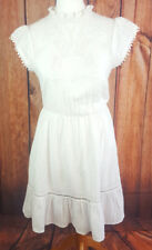 Mango Size S (10) White 100% Cotton Dress With Under Skirt/Lining MNG Suit