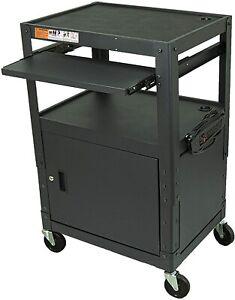 *Open Box* Steel Frame AV Cart | Cabinet | Mobile Workstation | Power Strip BLK