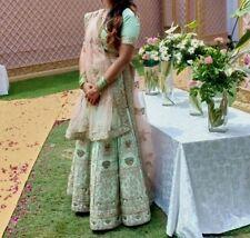 Worn Once Indian Wedding Hand Beaded Embroidered Green Lehenga,Blouse,Dupatta