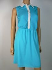 Cremieux Turquoise Blue White Pintucked Collar Satin Shirt Dress M 8 10 NEW C375