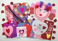 Childrens Art & Craft Set ~ Kids VALENTINES Craft Kits ~ Cards Pom Poms Glitter
