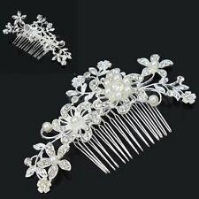 Women Wedding Bridal Pearl Crystal Rhinestone Floral Hair Comb Hairpiece Sliver