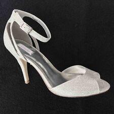 Untold Evening Shoes Sandals Ankle Strap Size 7 UK 40 EU Silver Glitter Sparkle