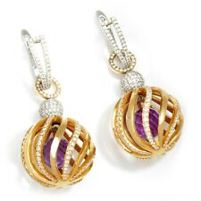 Caged Amethyst Gemstone Earrings with Diamonds 18K 3.44ctw