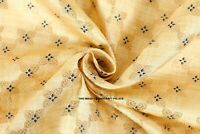 Beige Gold Jacquard Silk Kimono Dress Brocade Fabric Rich Flowers By The Yard